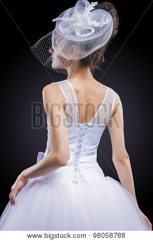 Wedding And Fashion Concept. Portrait Of Young Caucasian Female Lady In Tailored Wedding Dress Made