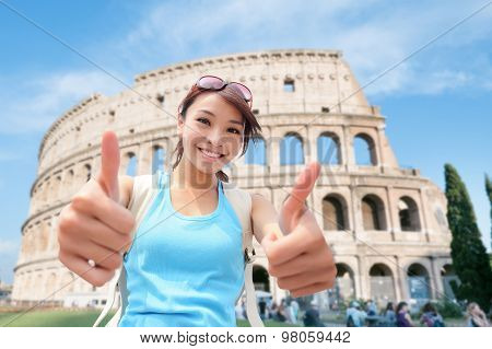 Happy Woman Travel In Italy