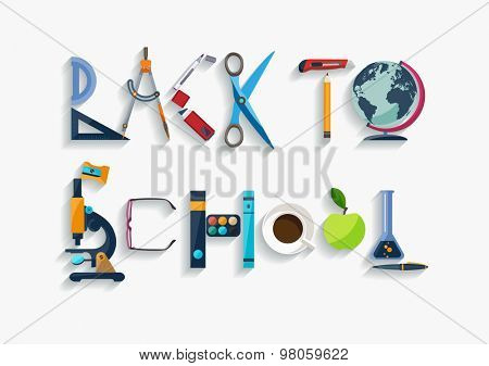 Typographic composition - back to school. Flat design.