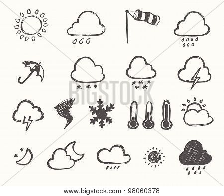 Set weather icons hand drawn Vector illustration