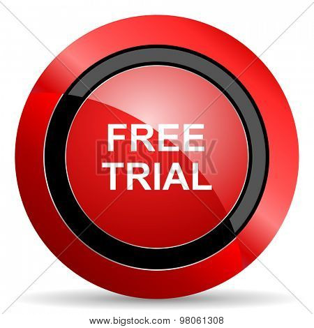 free trial red glossy web icon