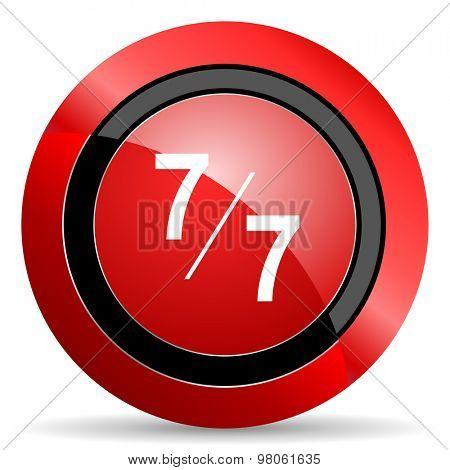 7 per 7 red glossy web icon