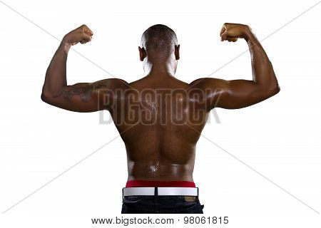 Fit Black Man Flexing Back Muscles