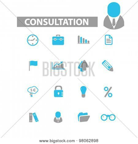 consultation, accounting icons, signs, illustrations set, vector