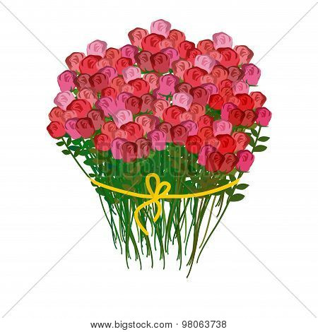 Bouquet Of Roses And A White Background. Huge Bouquet Of Red Flowers. 100 Pieces Of Roses. Vector Il