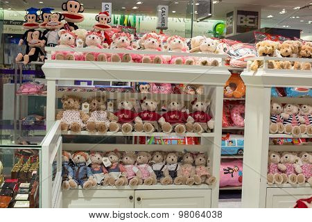 Rows of soft toys in the supermarket Siam Paragon in Bangkok Thailand.