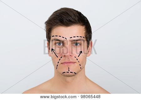 Man Face With Perforation Lines