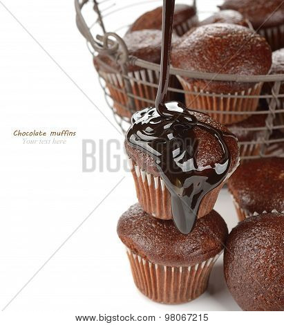 Muffins With Chocolate Sauce