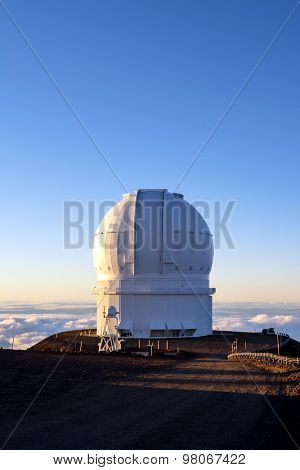 Mauna Kea Observatory on the big island of Hawaii at sunset.