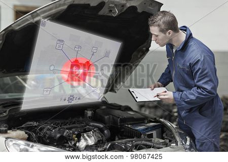 Engineering interface against mechanic with clipboard examining car engine