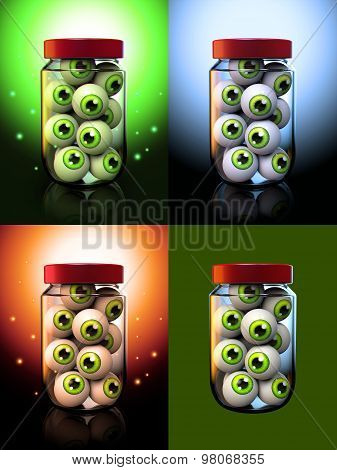 Halloween Eyeballs In A Jar 3D