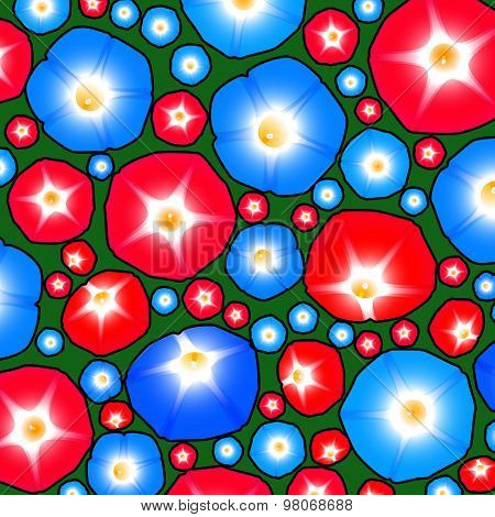 Pattern with ipomoea flowers