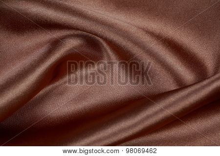 Brown Silk Cloth Of Wavy Abstract Background