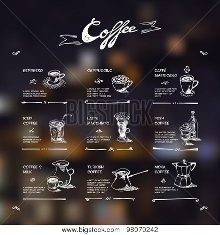Coffee menu. White drawing on dark background