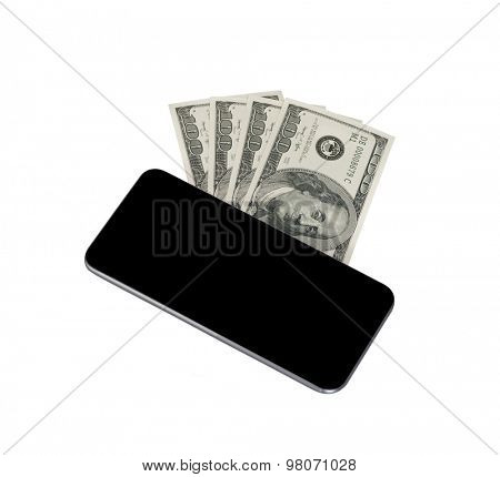 Smart phone and hundred of dollar bills