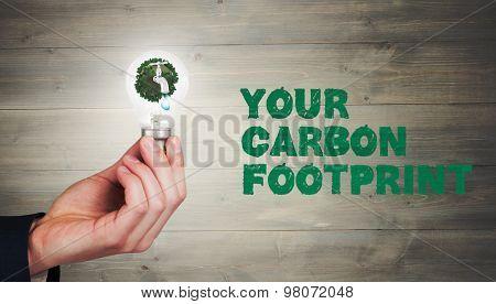 Hand holding environmental light bulb against bleached wooden planks background