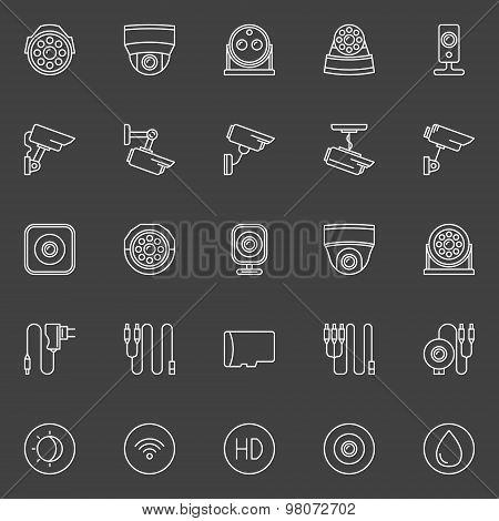 Video surveillance cameras icons