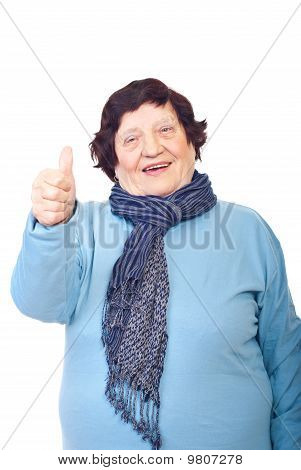 Aged Woman Giving Thumbs