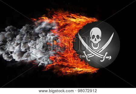 Flag With A Trail Of Fire And Smoke - Pirate