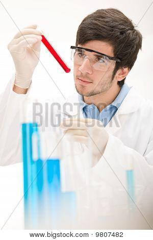 Flu Virus Experiment -  Scientist In Laboratory