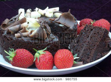 Chocolate Cake And Strawberries