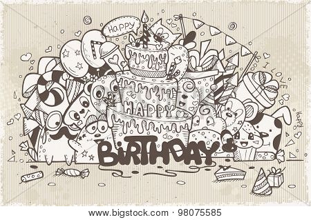 Illustration In Retro Style Of Hand-drawn Doodles On A Theme Birthday