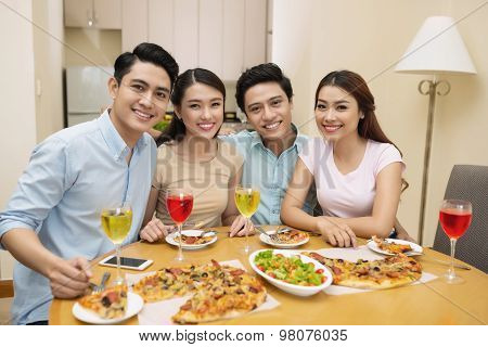 Friends at the dinner party