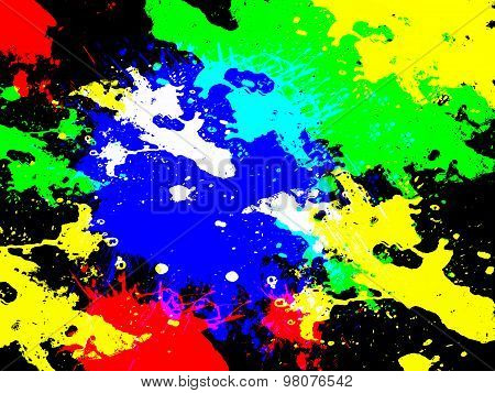 Colored spots on a black background