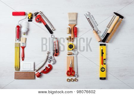 Diy Word Composed Of Work Tools