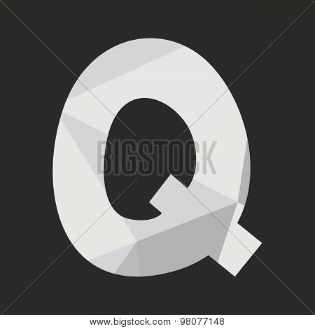 Q low poly wrapping surface vector alphabet letter isolated on black background