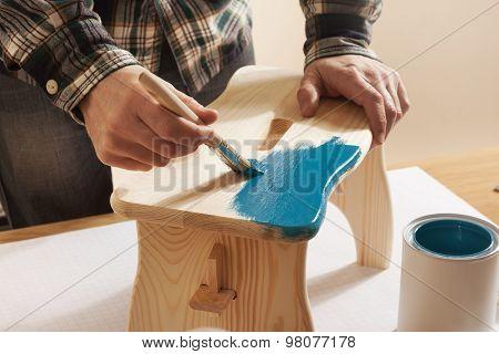 Craftsman Varnishing And Handmade Stool