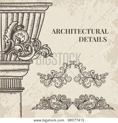 Antique and baroque cartouche ornaments and classic style column vector set. Vintage architectural d