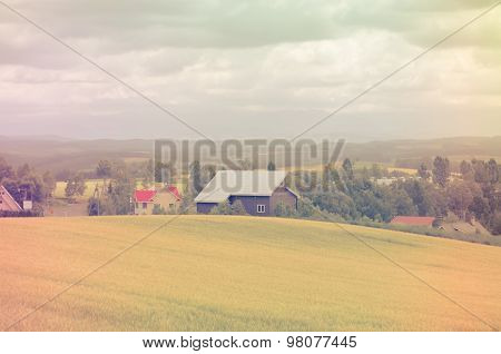 Farmland Village In Hokkaido Japan