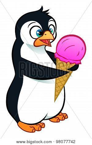 Little Penguin With Icecream
