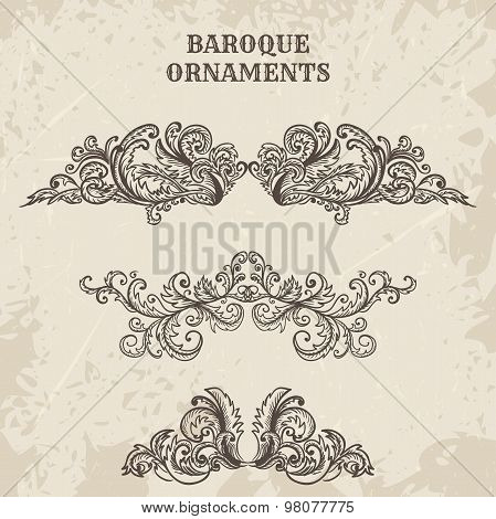 Antique and baroque cartouche ornaments vector set. Vintage architectural details design elements on