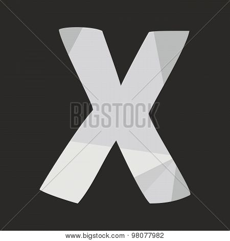 X low poly wrapping surface vector alphabet letter isolated on black background