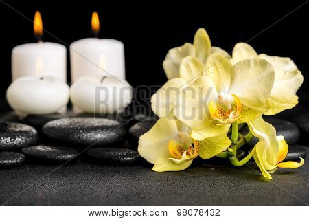 Beautiful Spa Still Life Of Yellow Orchid Phalaenopsis And Candles On Black Zen Stones With Drops, C