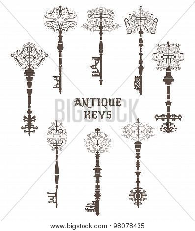 Set of antique keys. Vintage vector illustrtion collection.