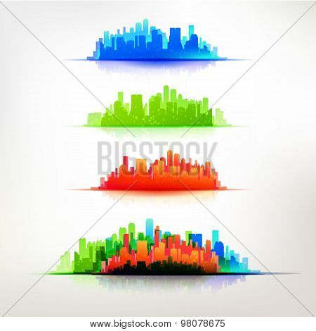 City Silhouette Colorful Set