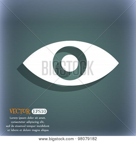 Eye, Publish Content, Sixth Sense, Intuition  Icon Symbol On The Blue-green Abstract Background With
