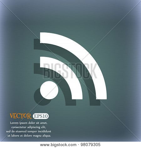 Wifi, Wi-fi, Wireless Network  Icon Symbol On The Blue-green Abstract Background With Shadow And Spa