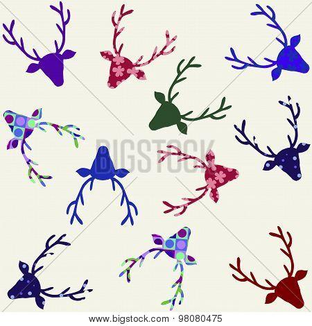 Colorful Modern Christmas Reindeer Pattern