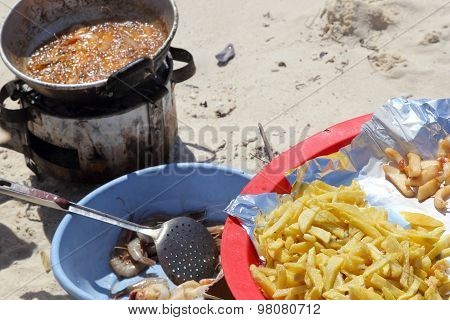 Shrimps And Fries On The Beach