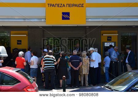 Pensioners Queue At Greek Bank