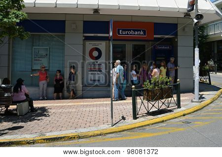People Waiting Cashpoint Queue