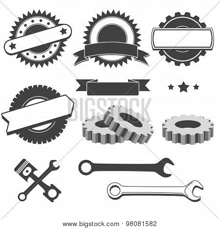 Set of badge, emblem, logotype element for mechanic, garage, car repair, auto service