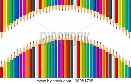 Rainbow vector set of colored pencils