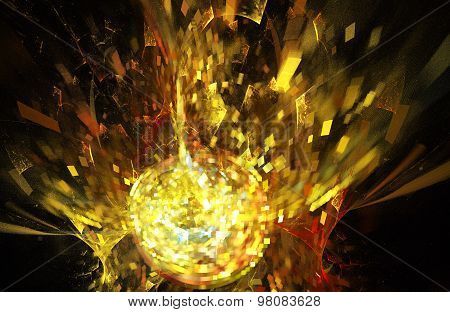 fractal illustration background with golden disco ball explosion