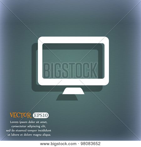 Computer Widescreen Monitor  Icon Symbol On The Blue-green Abstract Background With Shadow And Space