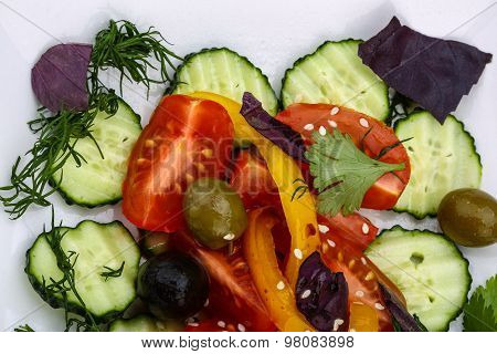 Salad With Tomato, Cucumber And Olives